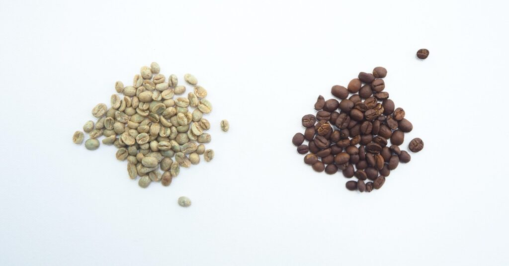 brown and white coffee beans