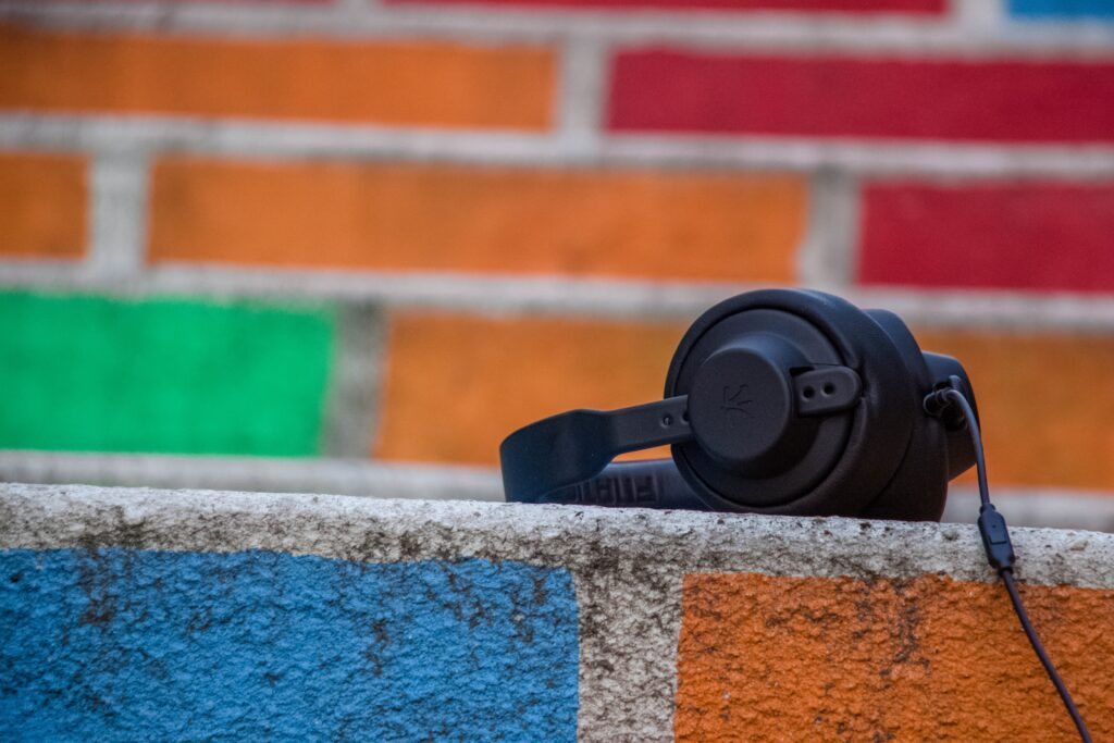 black headphones on floor
