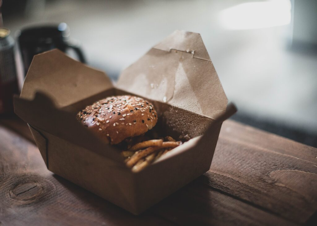 brown cardboard box with brown cookies