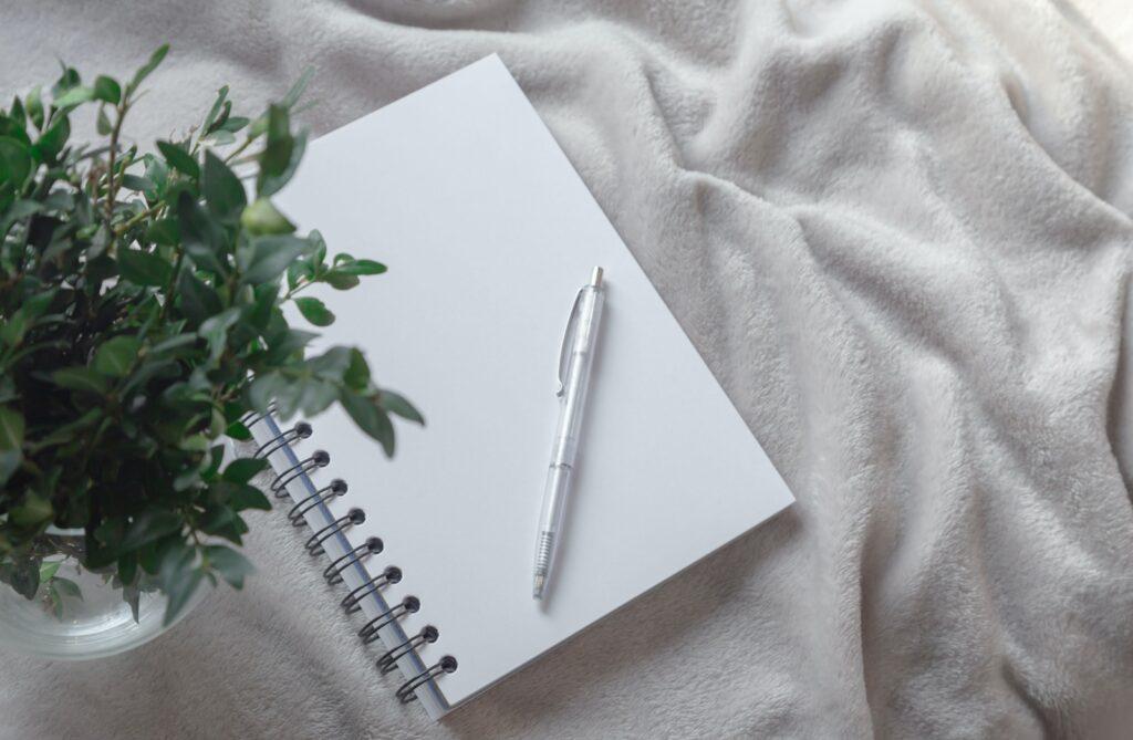 white click pen on white notebook