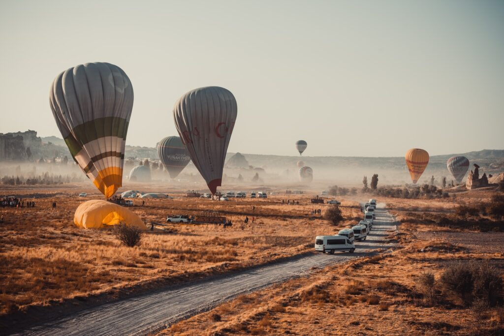 hot air balloons on field during daytime
